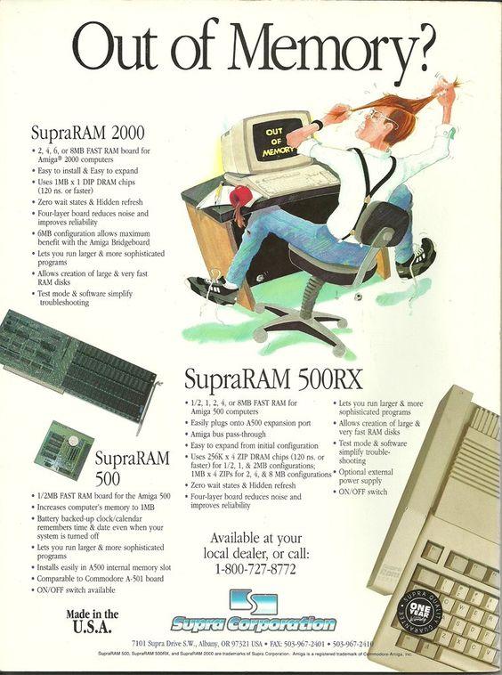 """Jesús López Martínez on Twitter: """"""""SupraRAM"""" - Expansiones de memoria para Commodore A500 y A2000 - 1992, publi. - https://t.co/meevWjxui5 https://t.co/VhKjD53voW"""""""