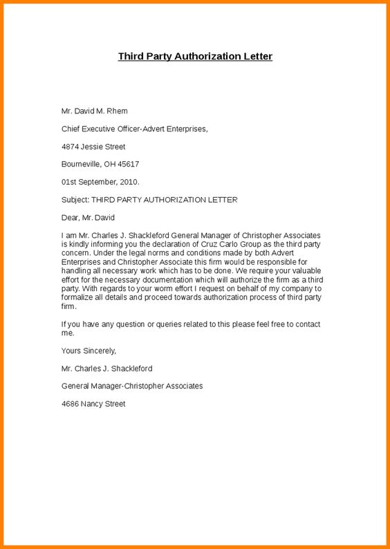 Letter Sample For Document Collectionird Party Authorization
