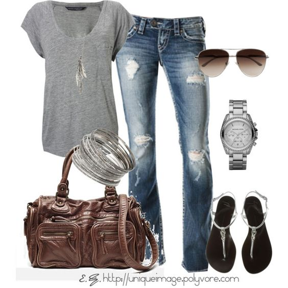 Distressed jeans, gray t-shirt, long silver necklace, sandals