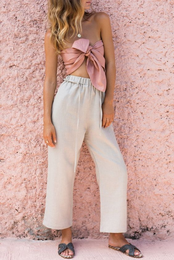 The pants you refuse to ever take off. Drawstring waist Relaxed fit Elastic waistband Wide leg Material: Hand-died 100% linen Handmade garment