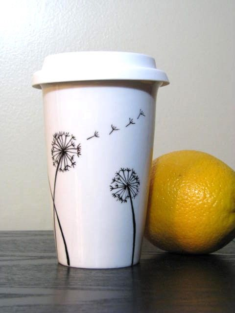 Painted Travel Mug Dandelions Eco Friendly Mug Designs
