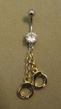 double gold handcuff dangle belly ring   $7  FREE SHIPPING!