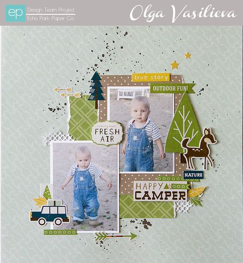 Happy Camper Layout from Happy Camper Collection. #echoparkpaper