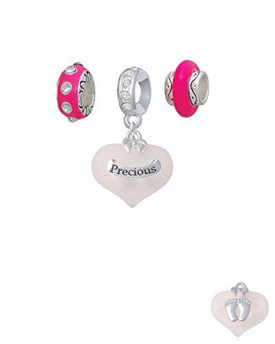 Precious White Heart with Baby Feet - Hot Pink Charm Beads (Set of 3) *** Learn more by visiting the image link.
