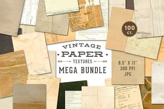 Vintage Paper Textures Mega Pack by Eclectic Anthology on @creativemarket