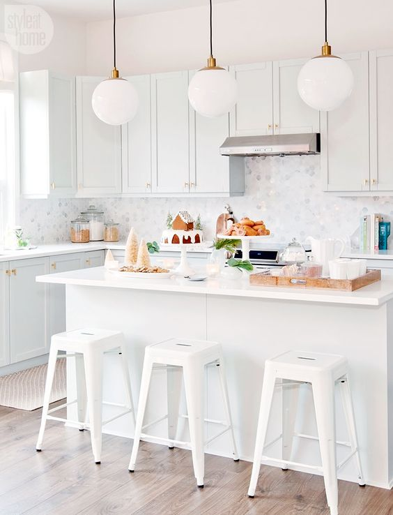 hex tile on backsplash - white kitchen