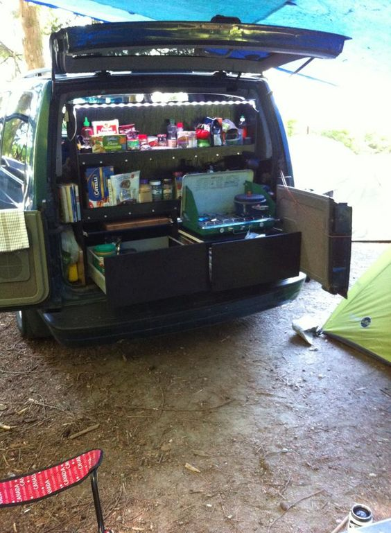 Astro Van Camper Conversion Kitchen Out Back Bed Inside Random Things Pinterest