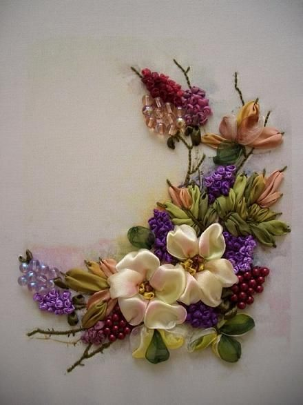 Ribbon embroidery silk flower designs