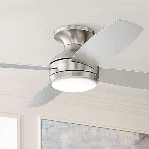 Best Seller 52 Casa Elite Modern Hugger Low Profile Ceiling Fan Light Led Dimmable Remote Control Flush Mount Brushed Nickel Living Room Bedroom Casa Vieja In 2020 Hugger Ceiling