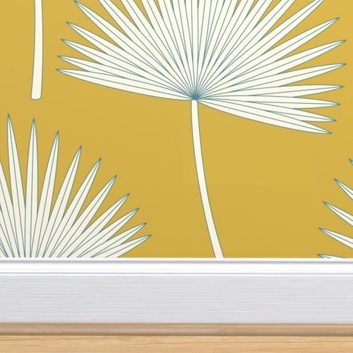Palm Leave Palm Leaves Jumbo Scale Leaves Mustard Mustard Green Graphic Style Sunshine Beach Curtains Home Decor Tropical Wallpaper Boho Tiles Green Wallpaper