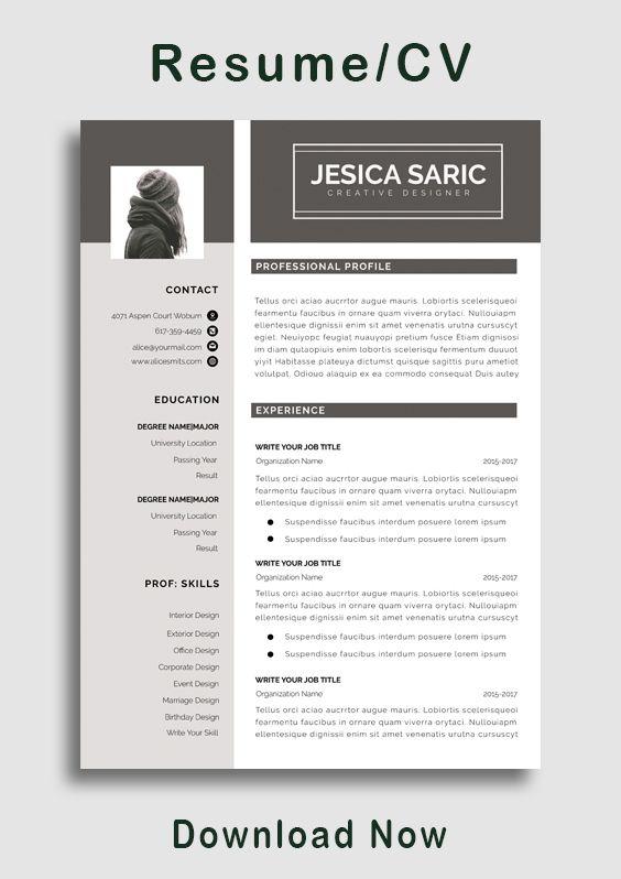 Sorority College Academic Modern Professional Resume CV Template Digital Download