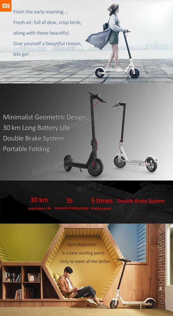 Xiaomi M365 Folding Electric Scooter Europe Version IP54 12.5kg Ultralight 30km Long Life 25 km/h Max. Load 100kg