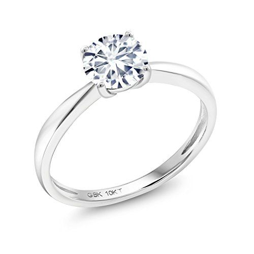 10k White Gold Solitaire Ring Forever Classic Round 0 80ct Dew Created Moissanite By White Gold Engagement Rings Set Gold Solitaire Ring White Gold Solitaire