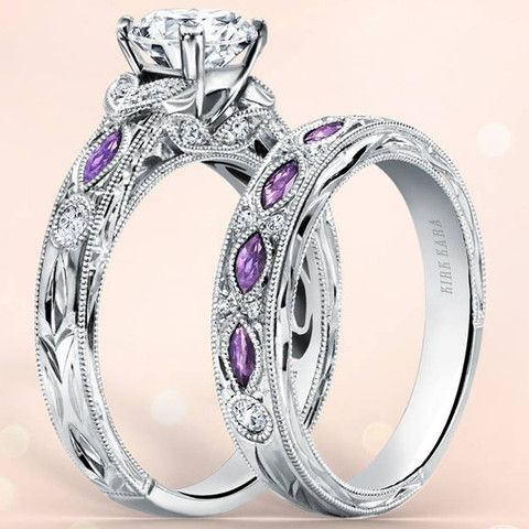 kirk kara dahlia marquise cut purple amethyst diamond engagement ring - Purple Wedding Rings