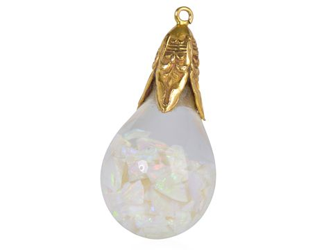 Art Deco Floating Opal Pendant & Chain - The Three Graces