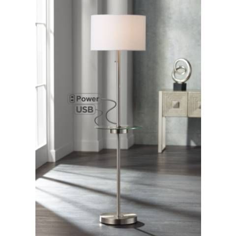 This Contemporary Floor Lamp Comes With Useful Features Such As A Glass Tray Table A Built In Ou Contemporary Floor Lamps Modern Floor Lamps Nickel Floor Lamp