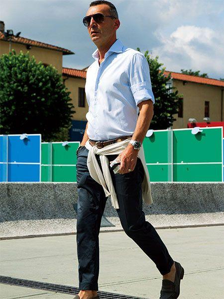 【MEN'S CLUB】白シャツスタイルは、袖まくりのバランスが決め手となる!!
