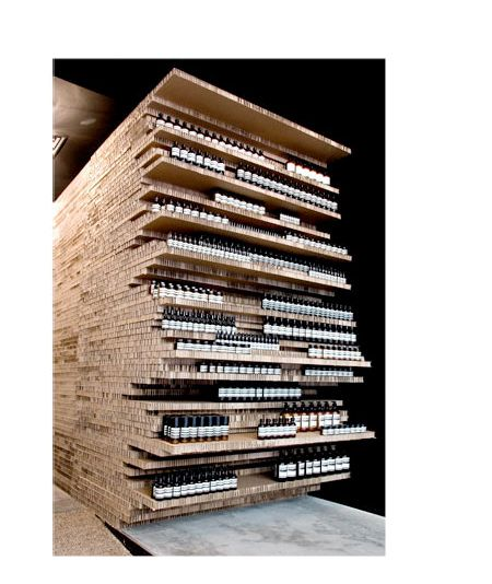 Corrugated material for product display -Aesop Flinders Lane Designed by March Studio