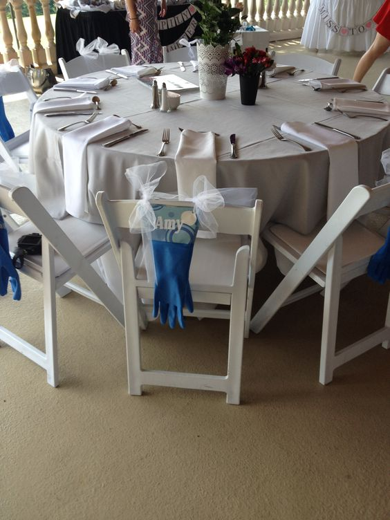Rubber glove place card