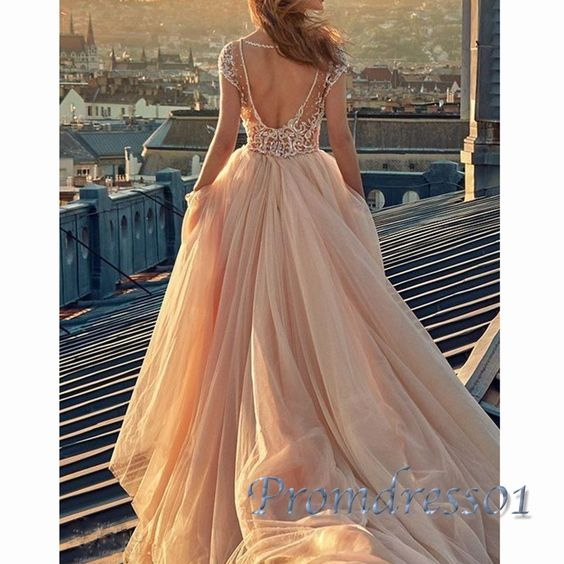 Elegant champagne lace tulle long prom dress with sleeves, ball gown 2016 #coniefox