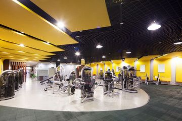 Interior Of Modern Gym Stock Photo Adobe Stock In 2021 Professional Painters Stock Photos Paint Companies