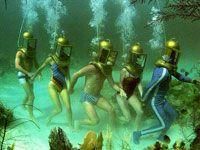 Helmet Diving in Bermuda  Why does this remind me of Sponge Bob?