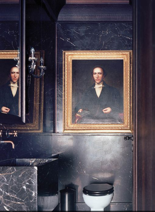 Remo Ruffini's Milan home bathroom. Photo by Marta Pizzza for WSJ