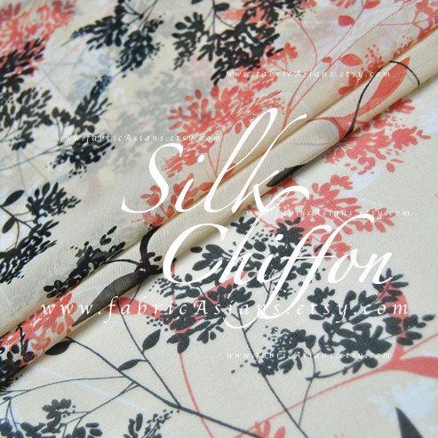 Leaves Prints Cream Silk Chiffon Peach Chiffon by fabricAsians