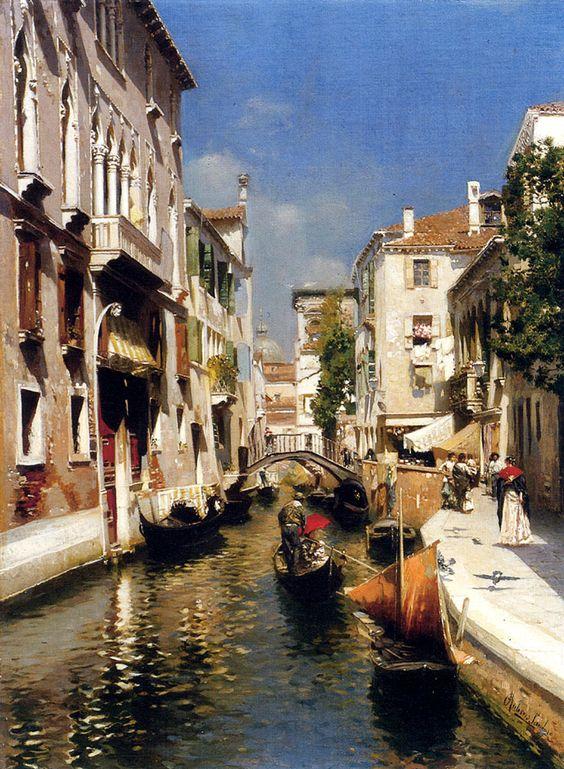 """""""Veneza"""" óleo sobre tela de Rubens Santoro (Nasceu em Mangrassano, em 1859 e faleceu em Nápoles, em Janeiro de 1942)"""