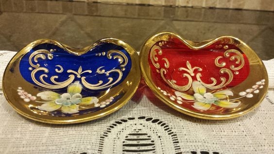 TWO Bohemian Gilded, Enameled Pin Dishes - Ruby Red and Cobalt Blue by KatsVintageTreasures on Etsy