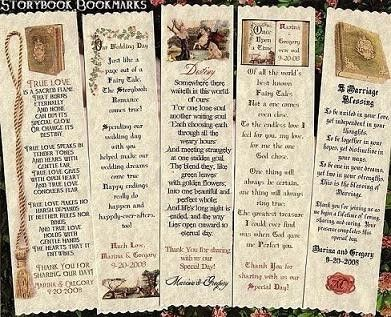 Wedding Favors Storybook Fairytale Bookmarks Favor qty 75