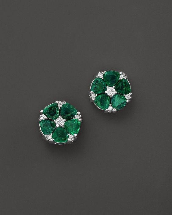 Emerald and Diamond Flower Stud Earrings in 14K White Gold