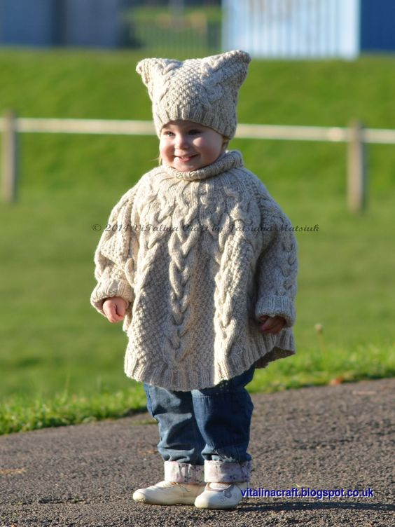 Girls cabled poncho in neutral colors - Vanilla Cloud Poncho and Hat -knitting project by Tanya on LoveKnitting