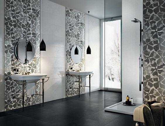 #avaceramica #tile floral, Serie Fusion Titanium Brillant Liscio Lappato