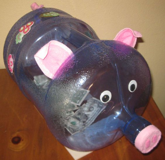 Diy homemade giant piggy bank unique piggy banks for Big bottle coin banks