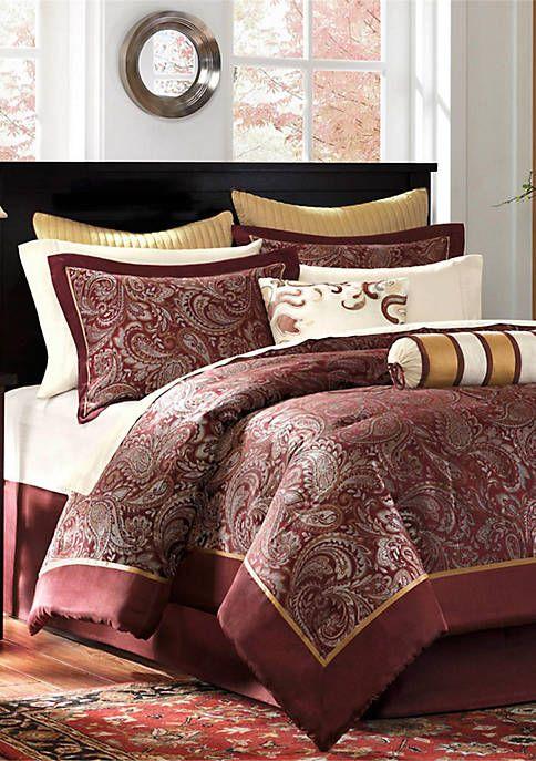 Aubrey Burgundy 12 Piece California King Comforter Set 104 In X