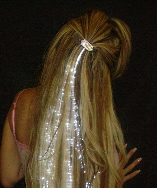 Glowbys White Light Up Fibre Optic Hair Clip