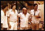 Preparação do show do Canecão (1977) Toquinho, Jobim, Vinicius e Chico Buarque Casa de Vinicius, na Gávea