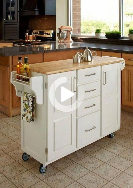 Homestyles Create A Cart White Kitchen Cart With Natural Wood Top 9100 1021 The Home Depot Kitchen Design Small Kitchen Design Diy Kitchen Storage