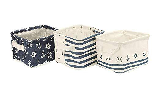 Orino Waterproof Nursery Nautical Fabric Small Storage Baskets