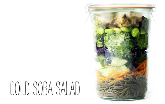Cold soba and satay chicken salad via Cup and Carry