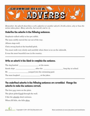 Printables Adverb Worksheets 5th Grade worksheets 5th grade davezan adverb davezan