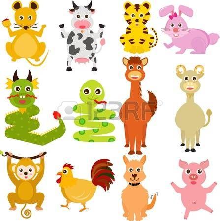 Un conjunto de iconos coloridos y lindos: doce animales del Zodiaco Chino photo