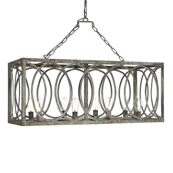 french iron charles rectangular chandelier 8 light | islands