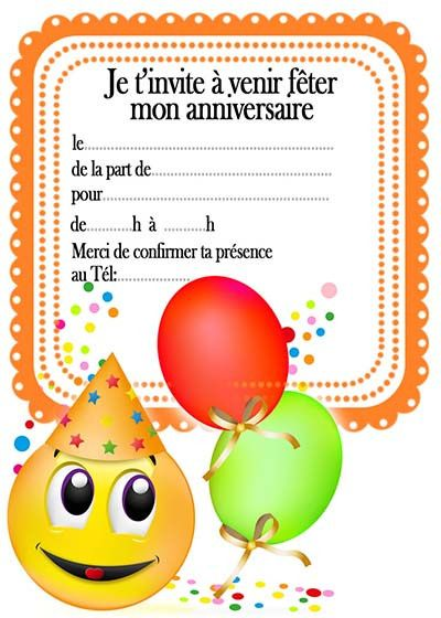 Carte D Invitation Anniversaire Enfant Gratuit Carte