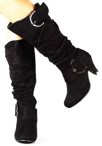 New Women Suede Buckle Straps Knee High Heels Boots Shoes
