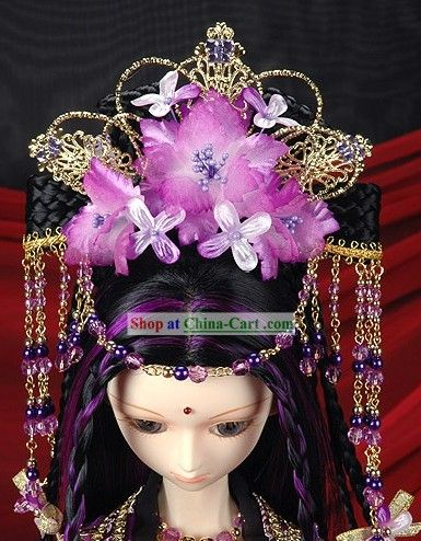 Ancient Chinese Palace Empress Purple Costumes, Hair Accessoreis and Wig Complete Set