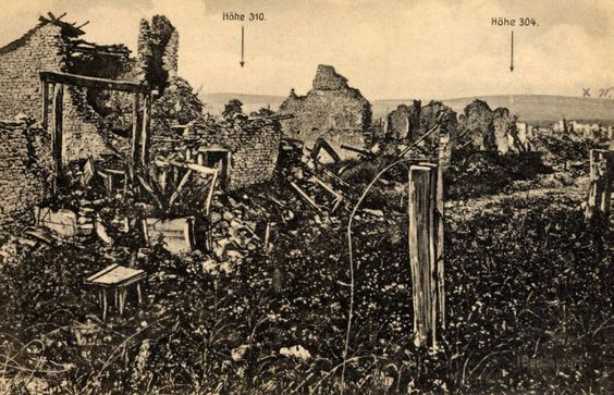 WW1, Battle of Verdun, 1916. A German postcard with a view from the village of…