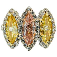 Natural Fancy Orange Pink and Yellow Diamond Platinum Three Stone Ring