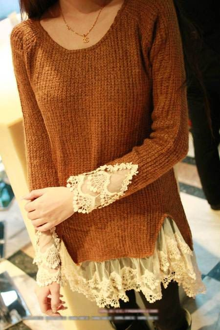 sweater with lace: